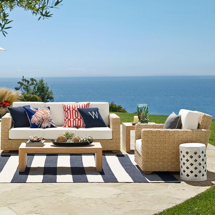 Patio rugs patio stripe indoor/outdoor rug, dress blue | williams sonoma WKSYPHK