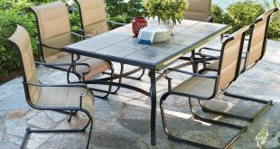 Patio Sets hampton bay belleville 7-piece padded sling outdoor dining set OFLEKFV