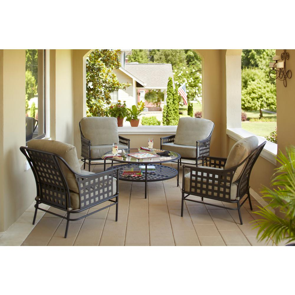 Patio Sets hampton bay lynnfield 5-piece patio conversation set with gray beige  cushions UGDOKDM