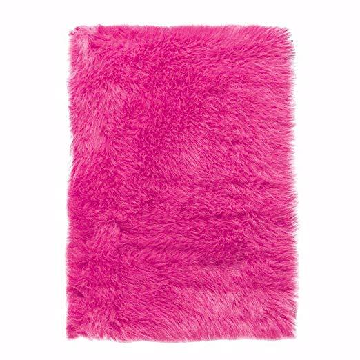 pink rug amazon.com: faux sheepskin area rug, 3u0027x5u0027, hot pink: kitchen u0026 dining XGHLWBH