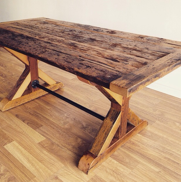 reclaimed wood furniture hemlock harvest table with trestle x base WVFCUCL