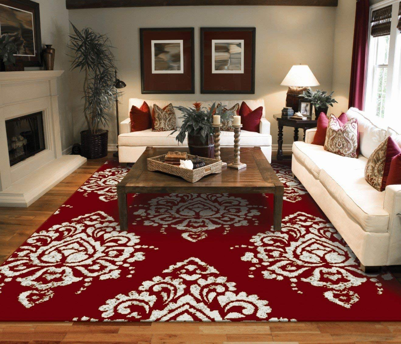Red rugs amazon.com: new modern rugs for living room red u0026 cream flower rugs leaves LBWVRWC