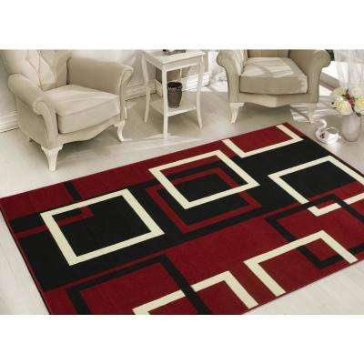 Red rugs clifton collection modern boxes design dark red ... EGHFMOX