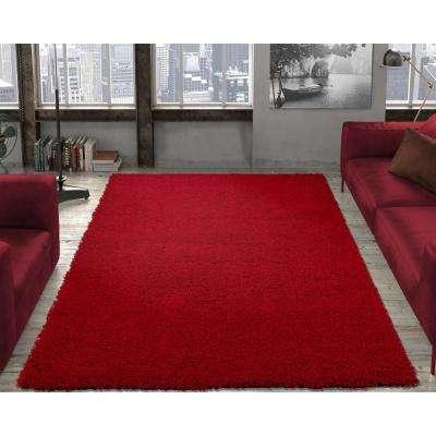 Red rugs contemporary solid dark red 3 ft. x 5 ft. shag area rug GJALMEC