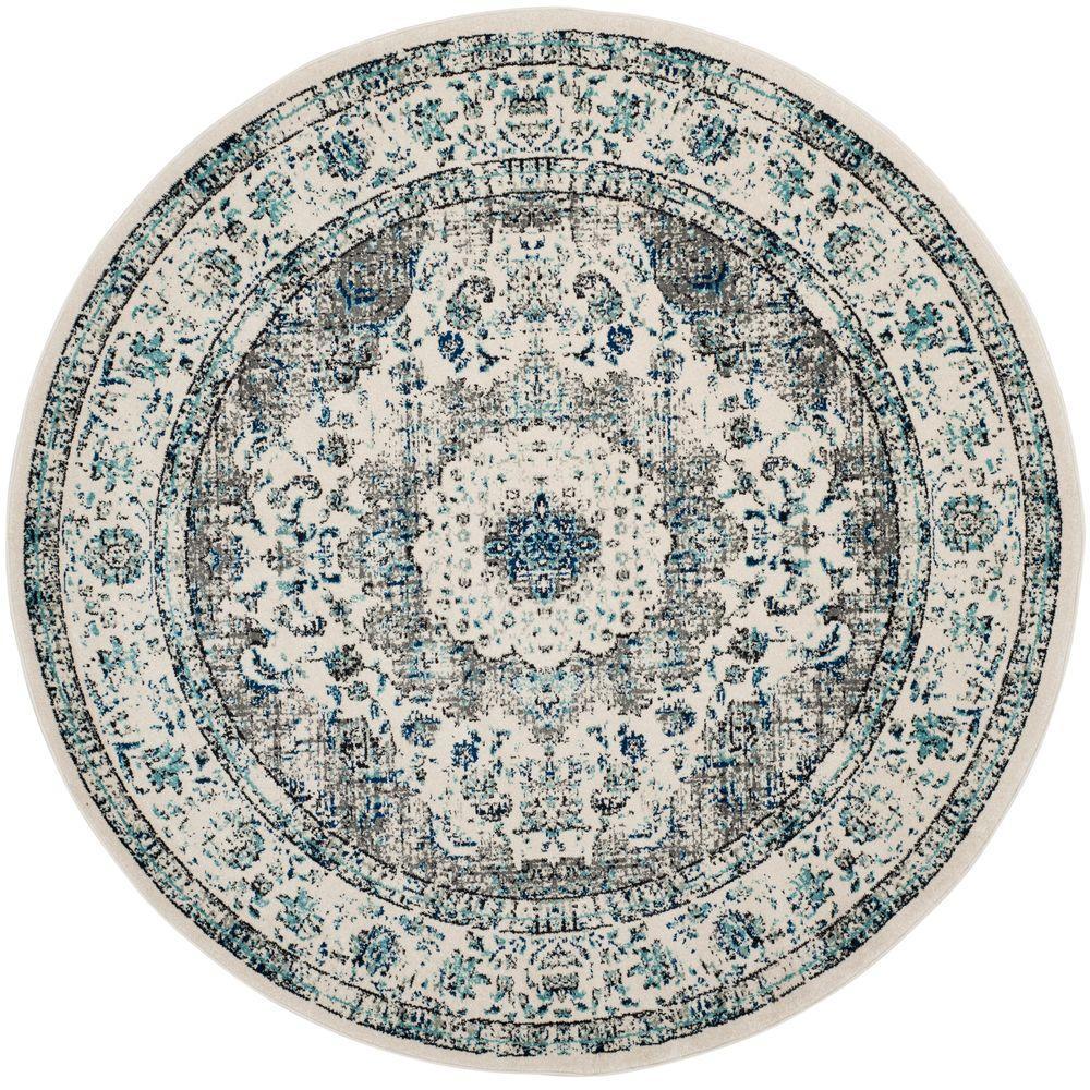 round area rugs safavieh evoke gray/ivory 7 ft. x 7 ft. round area rug ULRGWVA