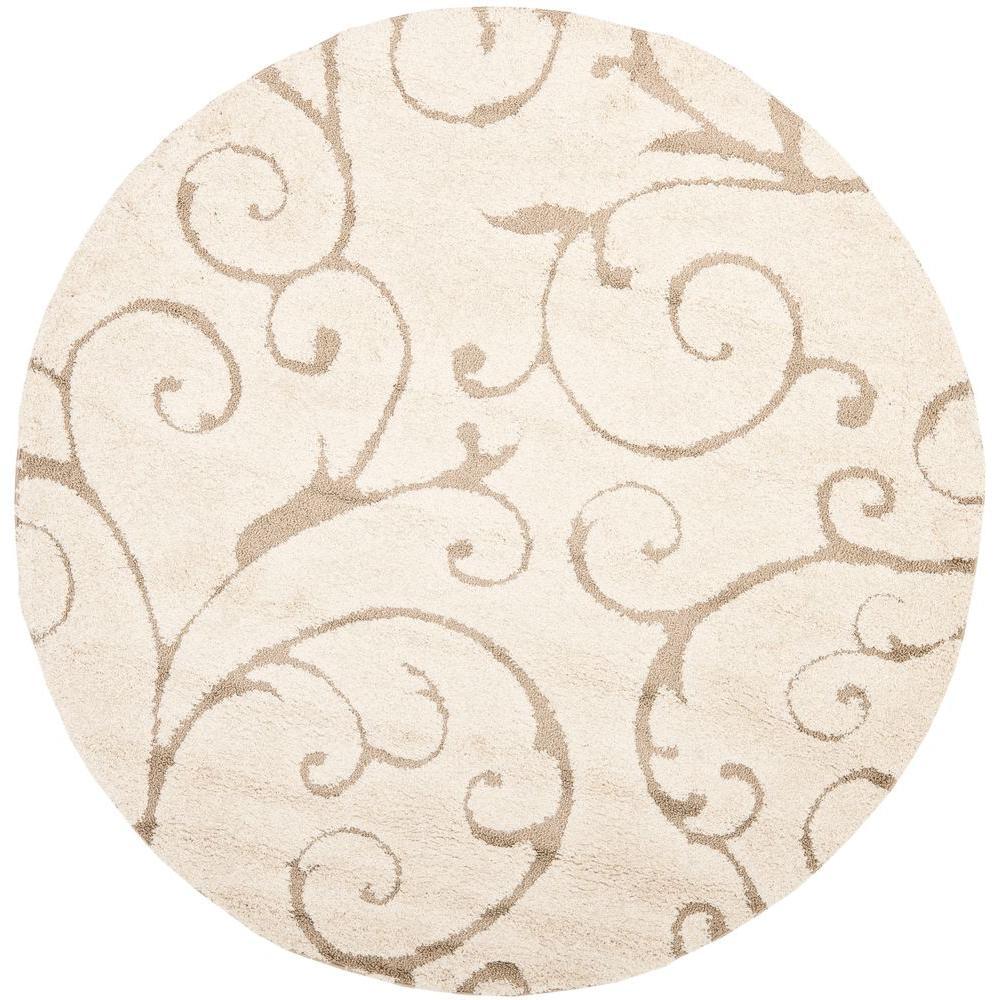 round area rugs safavieh florida shag cream/beige 5 ft. x 5 ft. round area rug TUHAQVU