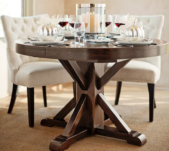 Round Pedestal Dining Table benchwright extending pedestal dining table, alfresco brown KZXDLWB