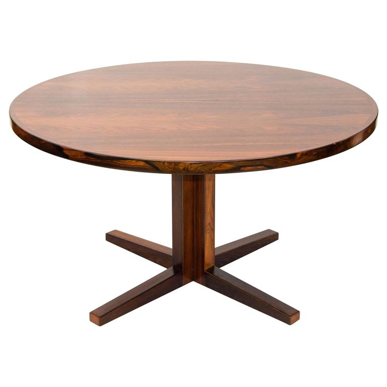 Round Pedestal Dining Table danish rosewood round pedestal dining table, one leaf for sale KCYRNAQ