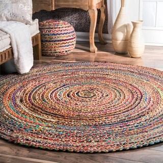 round rugs nuloom casual handmade braided cotton jute multi round rug (6u0027 x 6u0027 round YNTVVLD