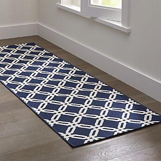 Rug runners arlo ii indoor/outdoor blue lattice rug runner NZQBNGM