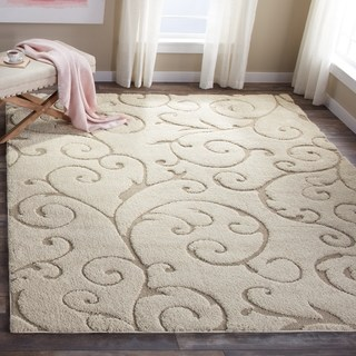 shag rugs safavieh florida shag scrollwork elegance cream/ beige rug - 8u0027 ... KSPJLQQ