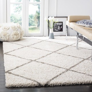 shag rugs safavieh hudson diamond shag ivory/ grey rug - 5u00271 x ... GGTMSHL