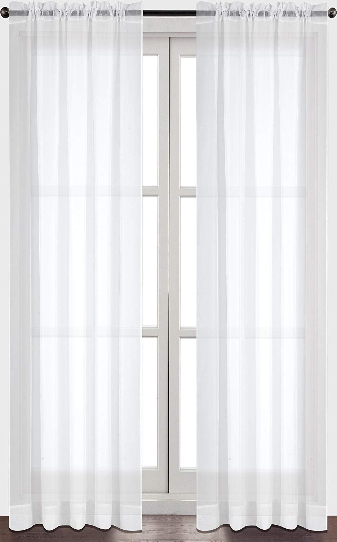 Sheer Curtain amazon.com: utopia bedding premium white sheer curtains - sheer voile -  white VVRHXXQ
