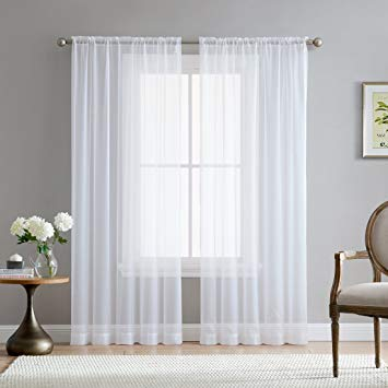 Sheer Curtain me white rod pocket sheer voile window curtain panels for bedroom, living JBMXJII