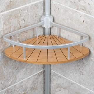 shower shelves aluminum tension polecaddy with bamboo XACBGPM