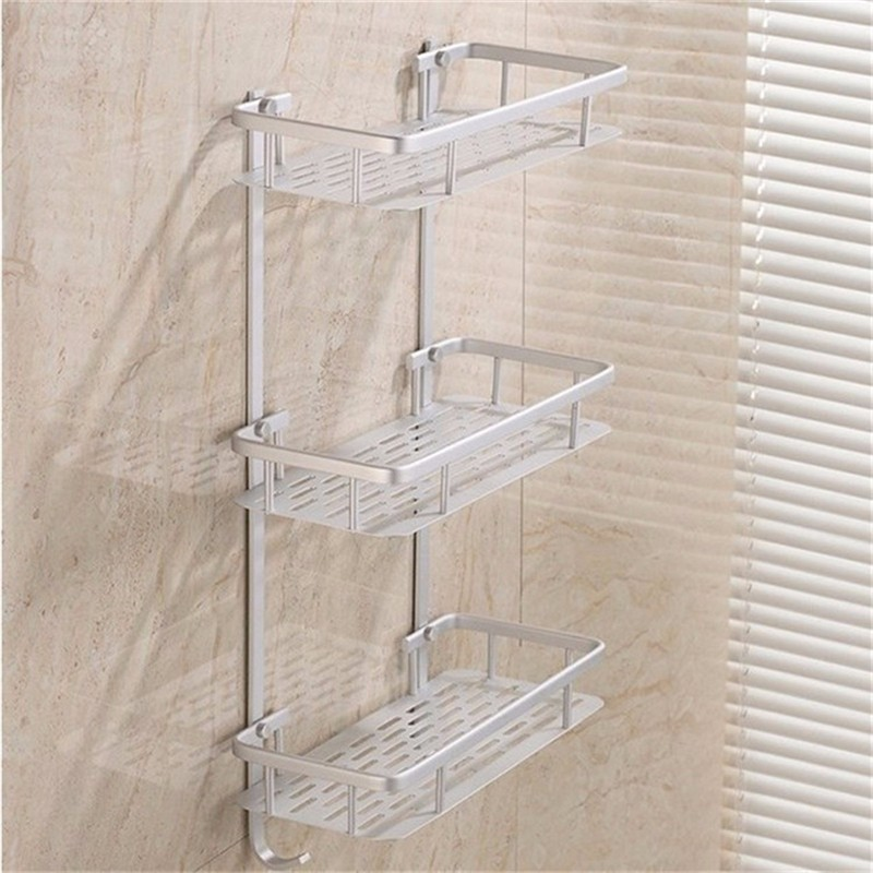 shower shelves bathroom shelves space alumimum 1/2/3 tier home kitchen bathroom shower  storage shelf ARQPOON