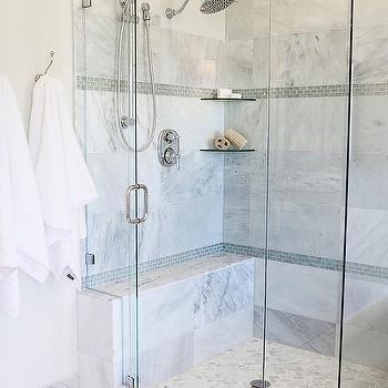 shower shelves gray glass mini brick shower border tiles with stacked glass corner shelves FLYONUC