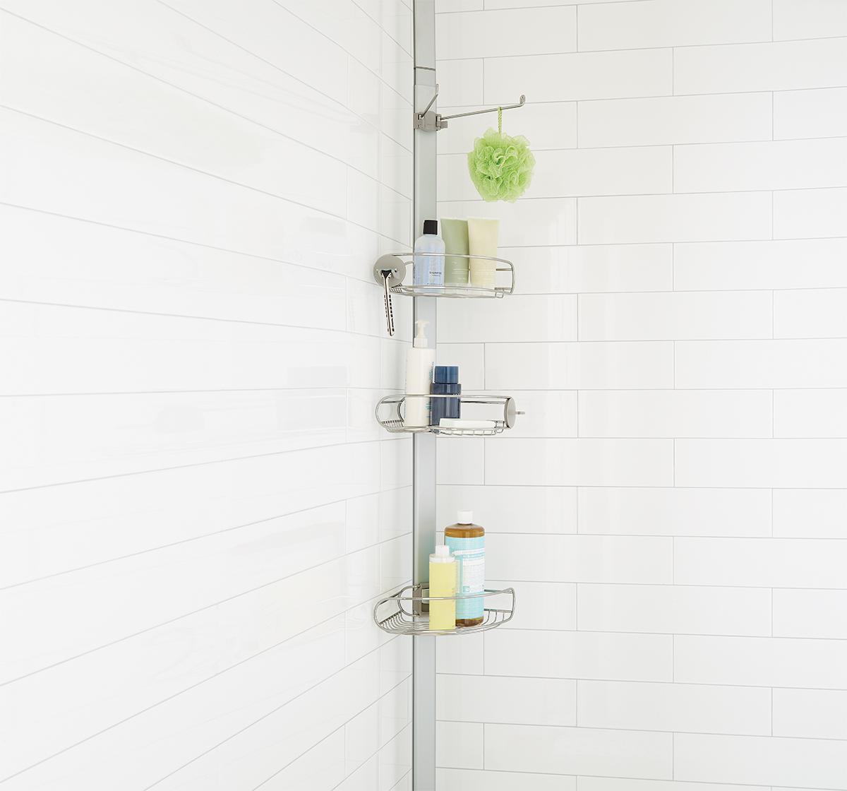 shower shelves stainless steel tension pole shower caddy ... YBTBYGR