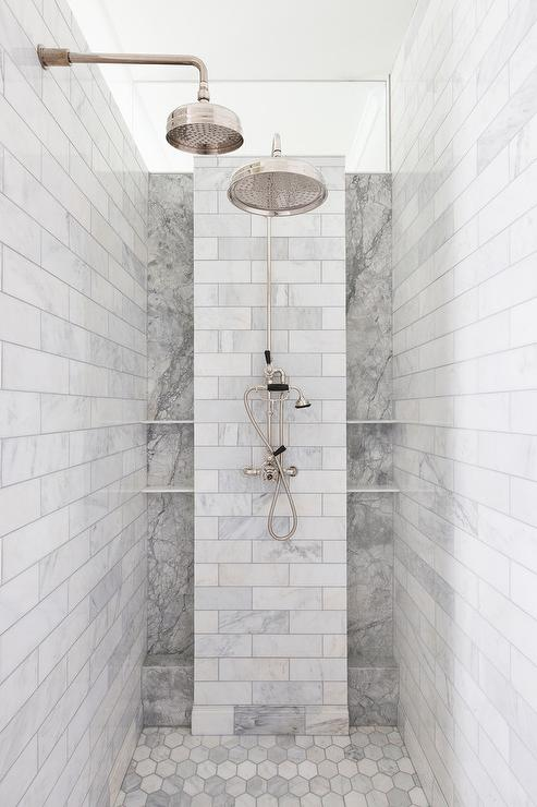 shower shelves ... this beautiful walk-in shower features dual polished nickel rain shower  heads BHUPEOW