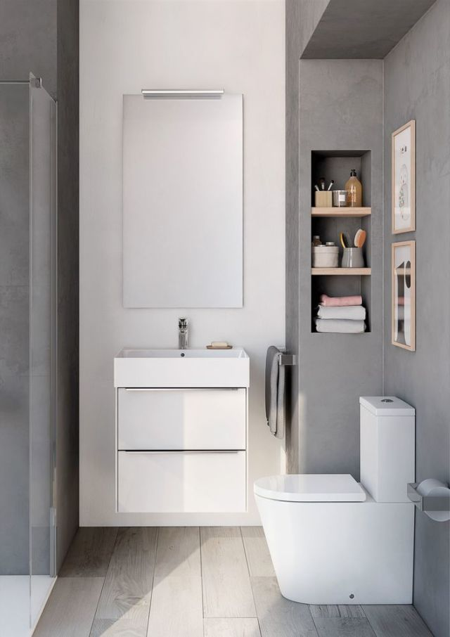 small bathroom design inspira wall-hung white gloss base unit, inspira square wall-hung basin, ASHAKDA