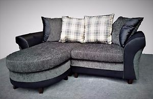 Small Corner Sofa image is loading new-3-seater-small-corner-sofa-grey-black- MJFYGFE
