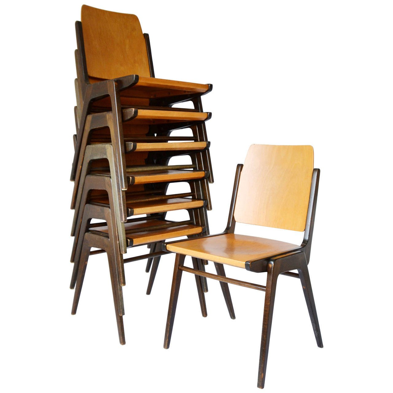 Stacking Chairs one of twelve bicolored stacking chairs designed by austrian architect  franz schuster GQXHFMK