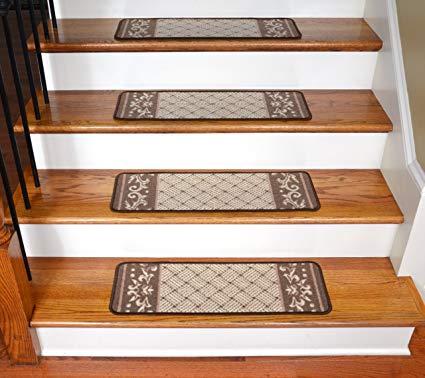 stair carpet carpet stair treads - caramel scroll border EJMDLSH
