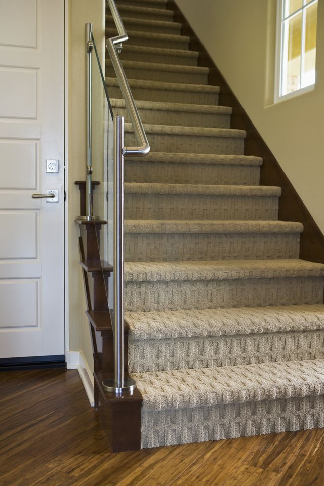stunning carpet for stairs 8 modern staircases featuring carpet:  contemporary basketweave pattern UWQYWBI