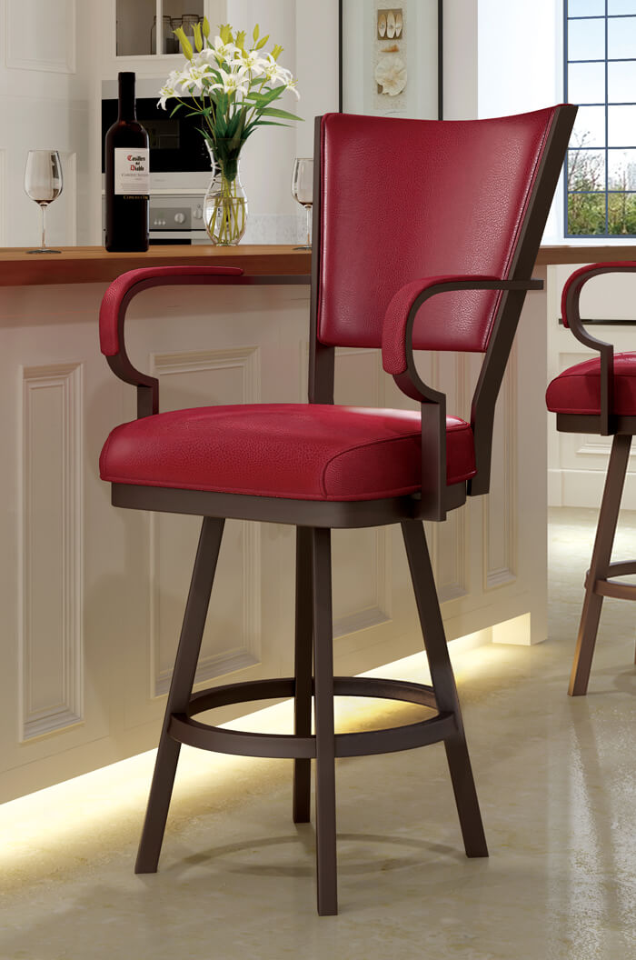 Swivel Bar Stools With Arms callee laguna swivel stool with arms and red vinyl ... NYXAKUY