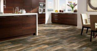 vinyl wood flooring open-plan contemporary kitchen with striking wood floor UMWAQNX
