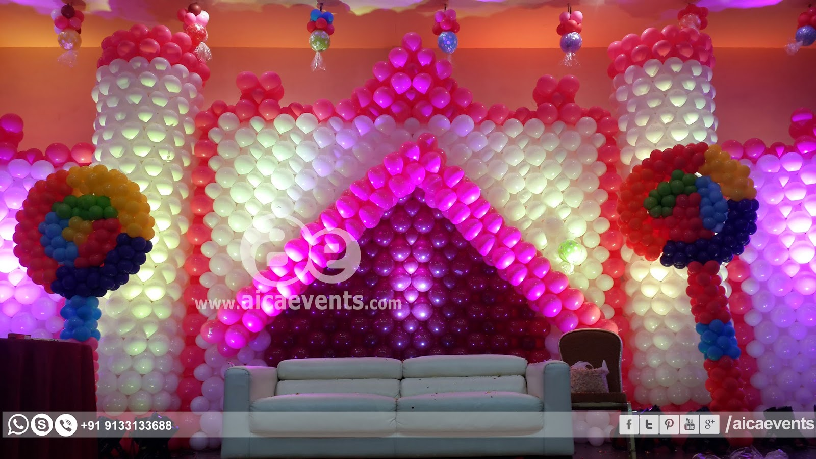 wall decoration theme castle with balloons RGDUKBZ