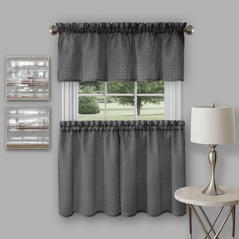 Window valances achim richmond black polyester tier and valance curtain set - 58 in. w TVYDFYV