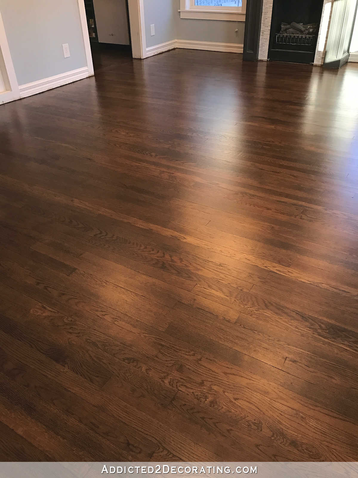 wooden floors refinished red oak hardwood floors - entryway and living room JFYWRQZ