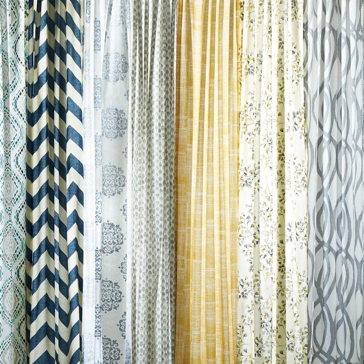 Yellow Curtains mid-century cotton canvas etched grid curtains (set of 2) - horseradish   WAYNRMZ
