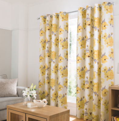 Yellow Curtains watercolour floral curtains - yellow NUZTSFC