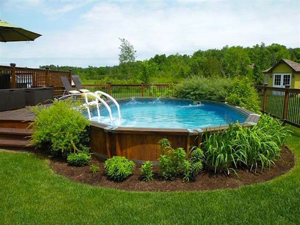 above ground pools that look like in ground landscaping around an above ground pool ENOBNRG
