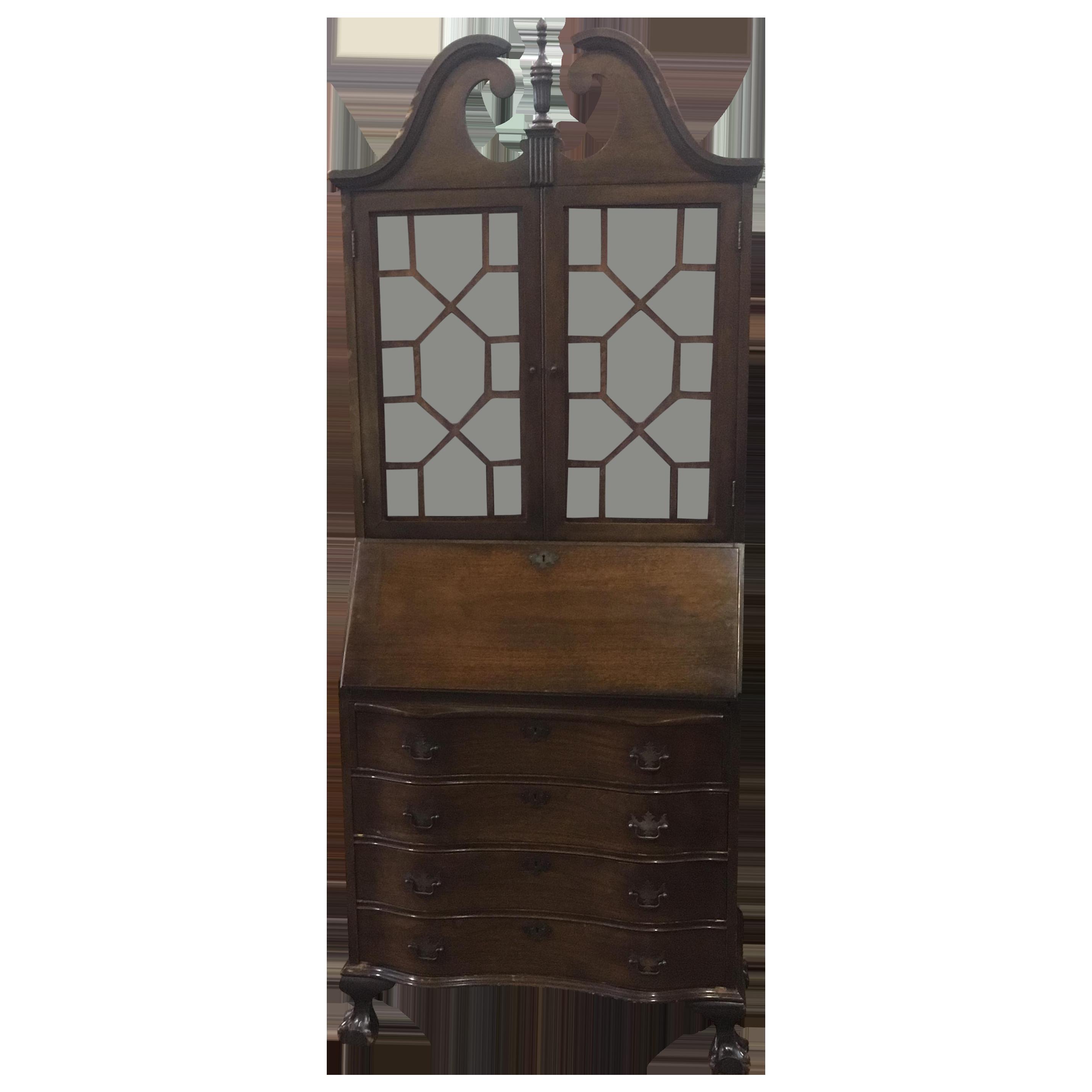 antique drop front secretary desk with bookcase antique mahogany drop front secretary desk | chairish EDNGUNG