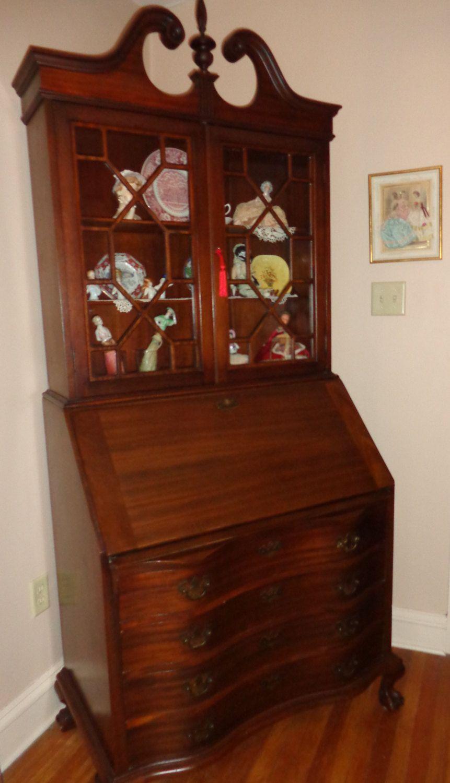 antique drop front secretary desk with bookcase - best ergonomic desk chair WPFFWXD