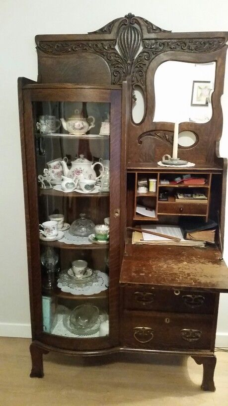 antique drop front secretary desk with bookcase my great grandmothers antique 1900u0027s drop front secretary desk with curve  glass ZAHCBVV