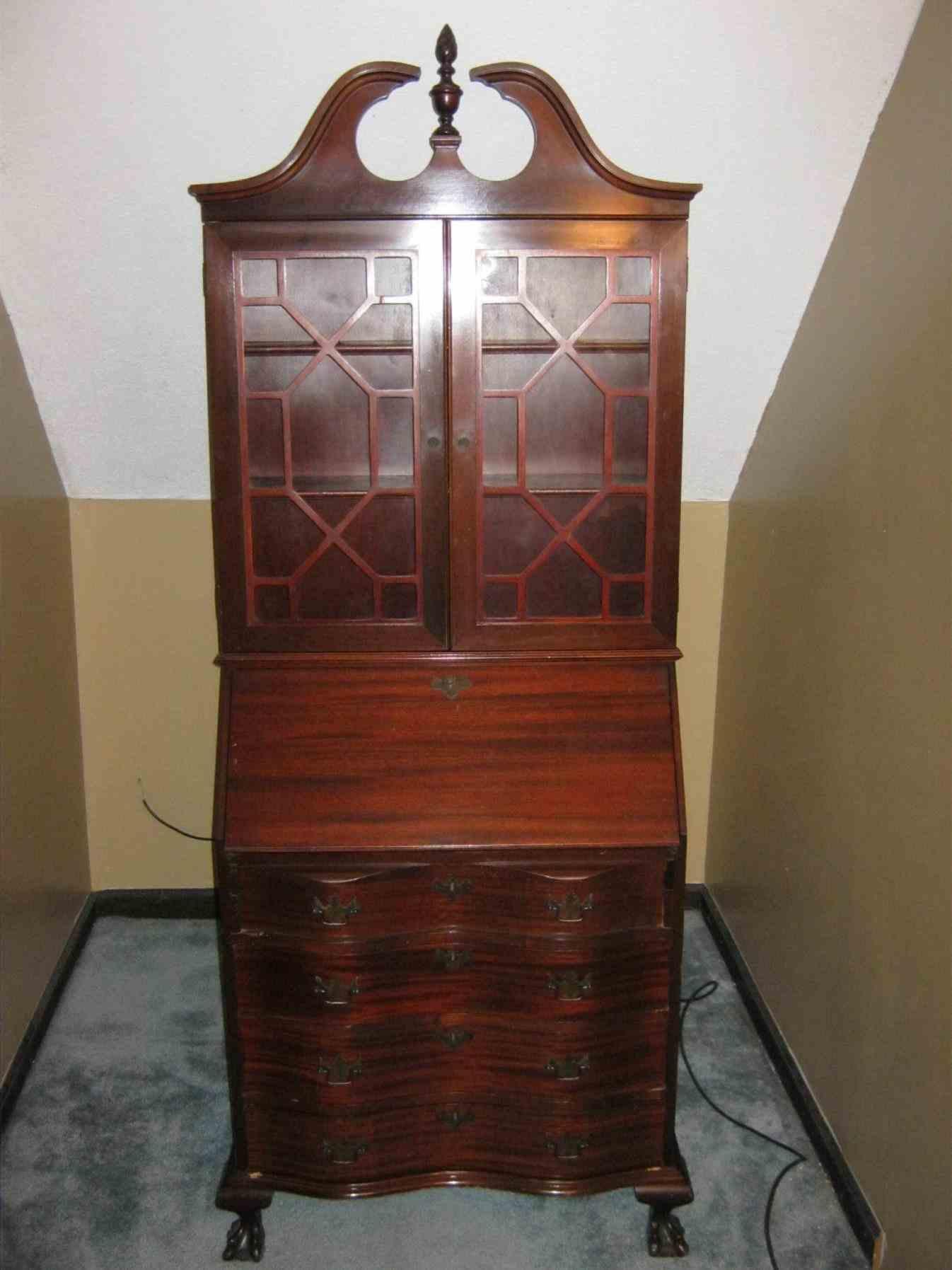Antique Drop Front Secretary Desk with Bookcase