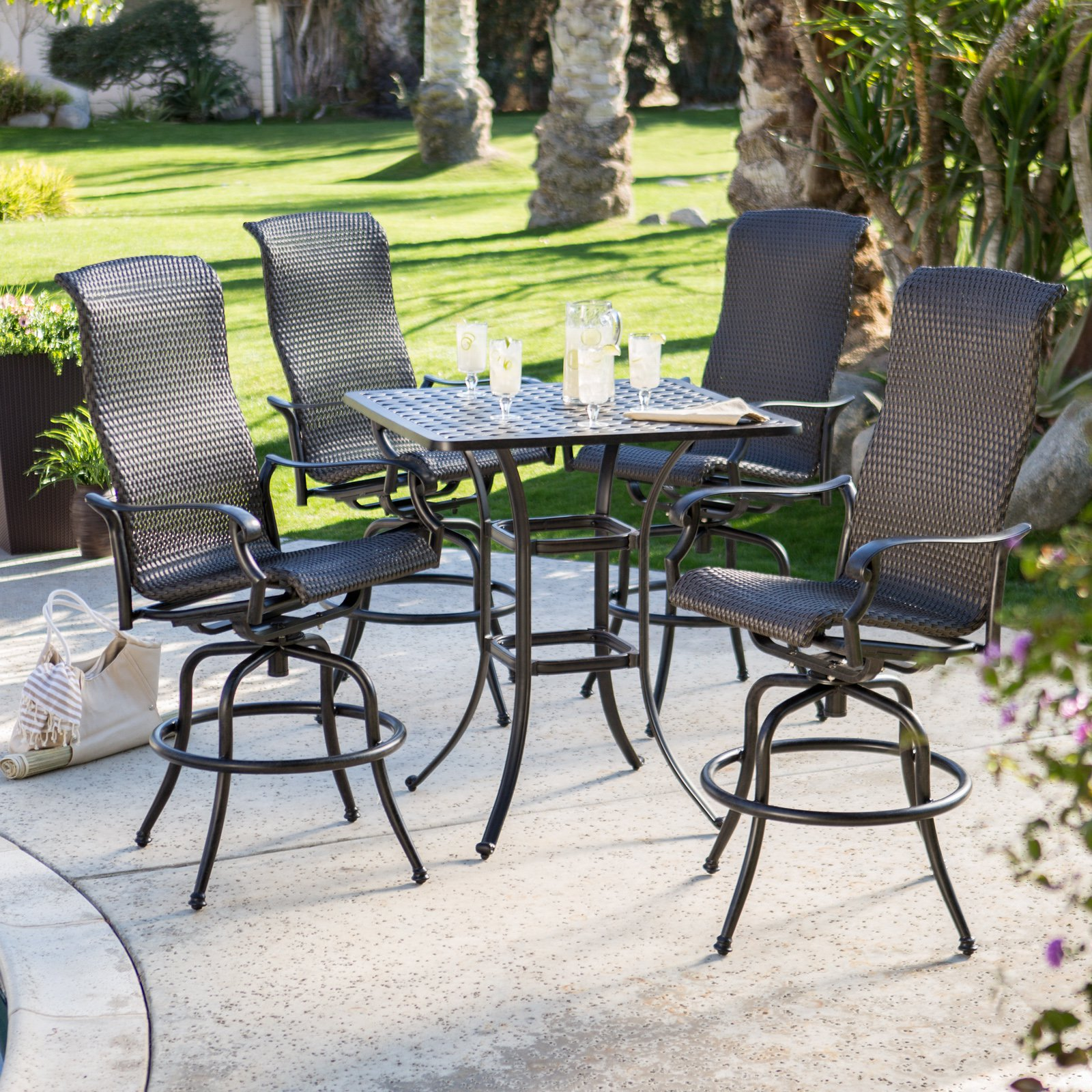 bar height patio set with swivel chairs black painted wooden dining chairs mixed square brown varnished top surface OKMSUOY