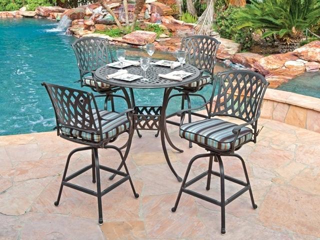 bar height patio set with swivel chairs cozy 5 cast aluminum YSRJDJF