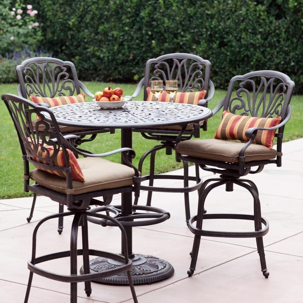 bar height patio set with swivel chairs darlee elisabeth 5 piece cast aluminum patio bar set with swivel FDRZWCT