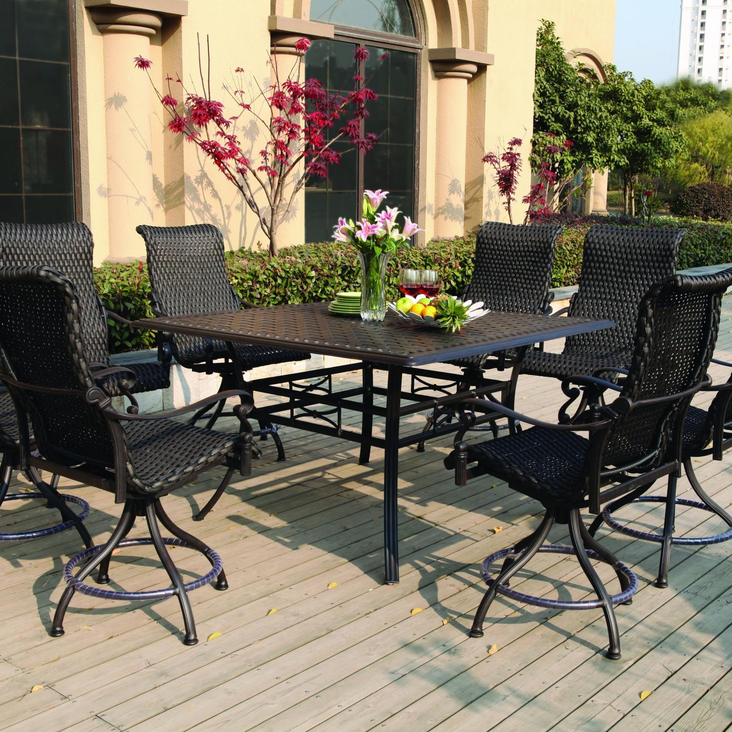 bar height patio set with swivel chairs darlee victoria 9 piece resin wicker counter height patio dining set OTMKOZK