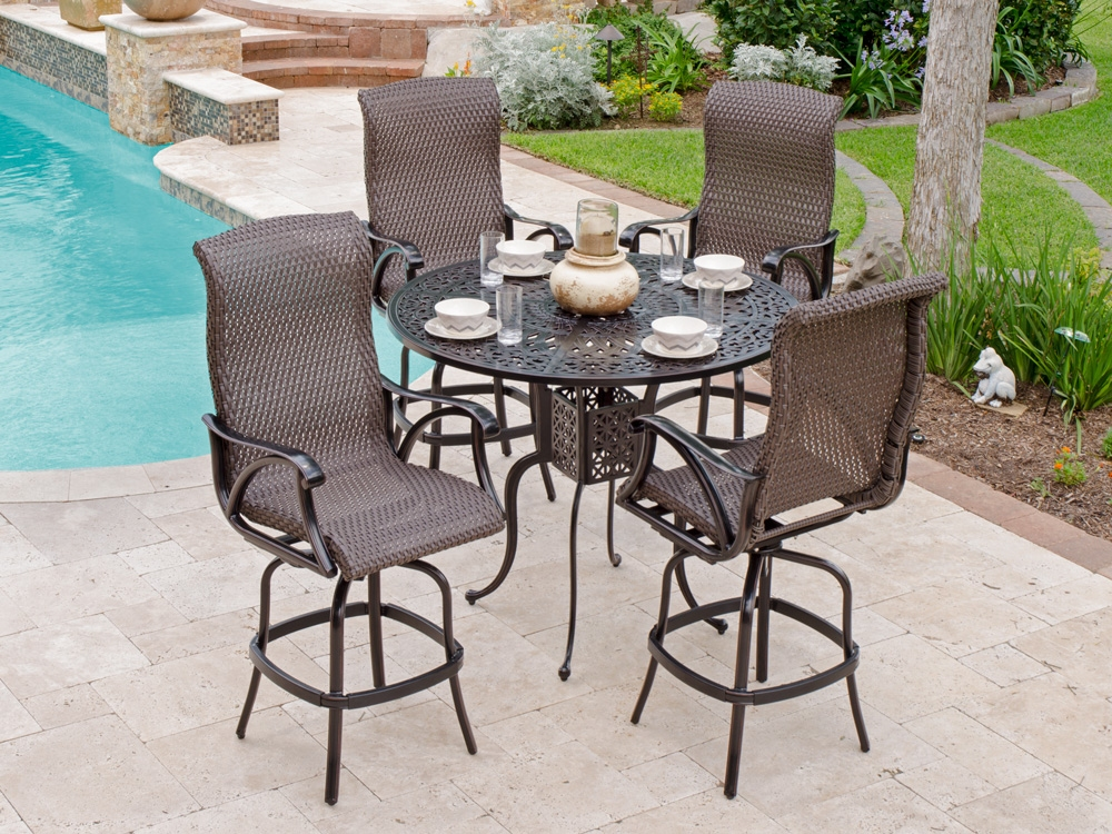 bar height patio set with swivel chairs perfect aluminum outdoor bar stools WWMZIEX