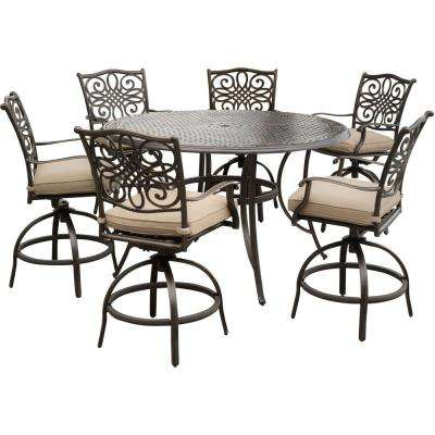 bar height patio set with swivel chairs traditions 7-piece aluminum outdoor high dining set with swivel chairs with JXYUNRY