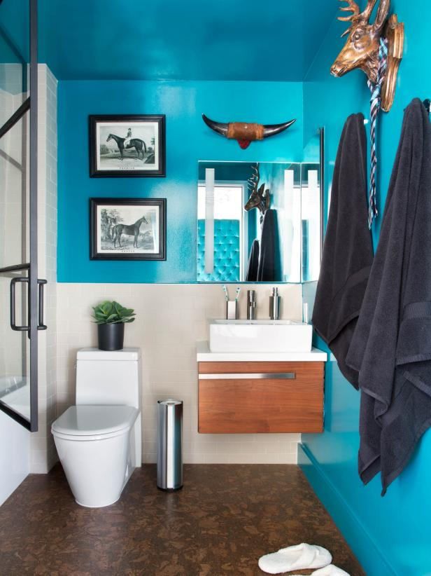 bathroom paint colors for small bathrooms modern small bathroom with bold teal walls, floating vanity and animal LLSKYRH