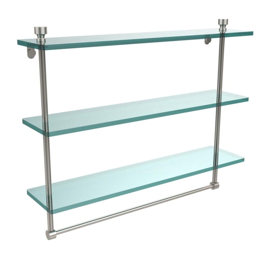 bathroom shelf with towel bar brushed nickel brushed nickel NVIATAF