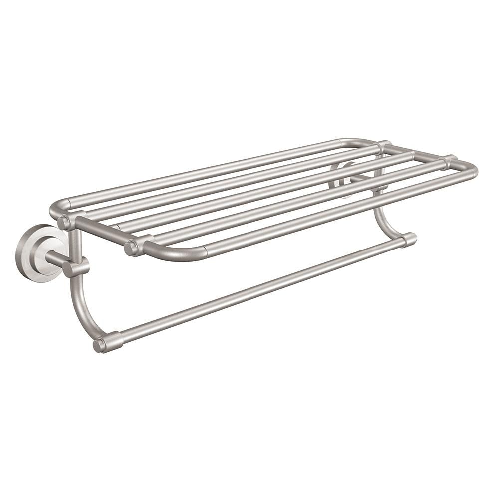 bathroom shelf with towel bar brushed nickel moen iso bathroom towel shelf WLVLVBT