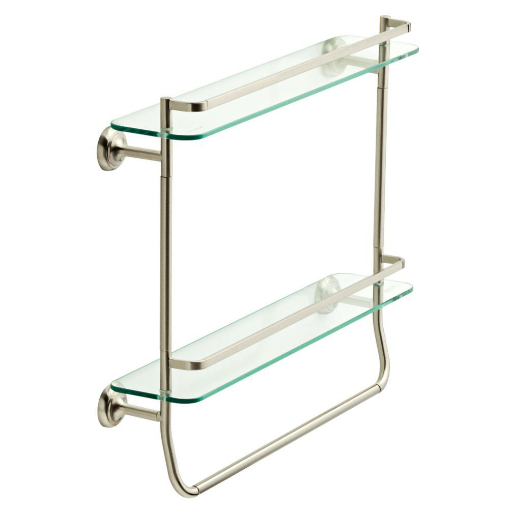 bathroom shelf with towel bar brushed nickel w double glass shelf with towel bar in brushed nickel KMASNQM
